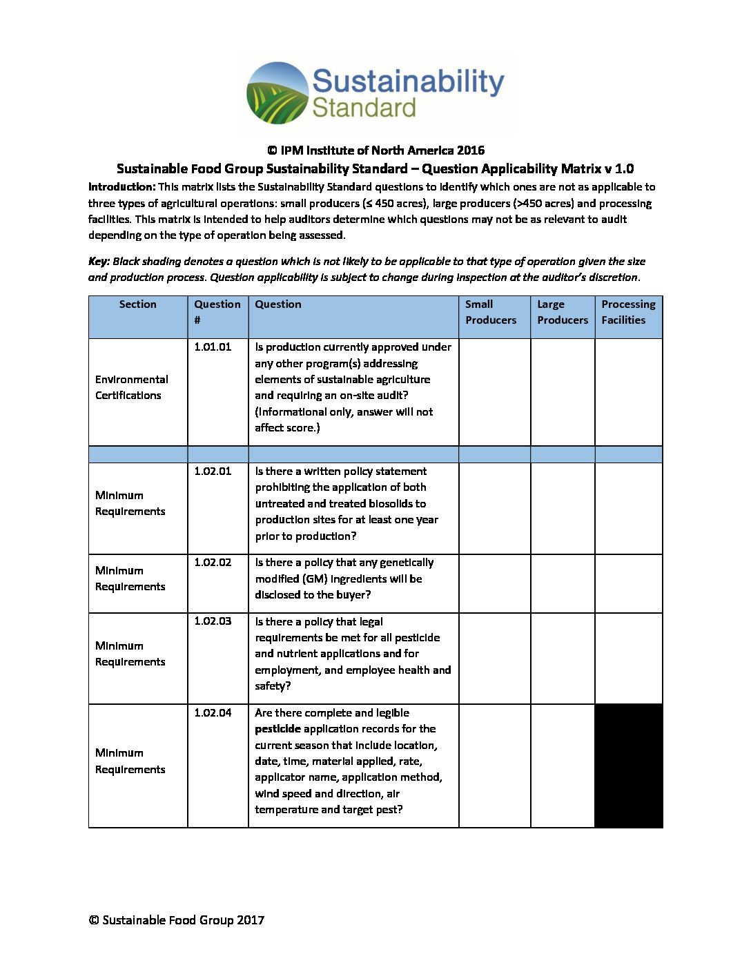 Sfg Sustainability Standard Question Applicability Matrix 121317